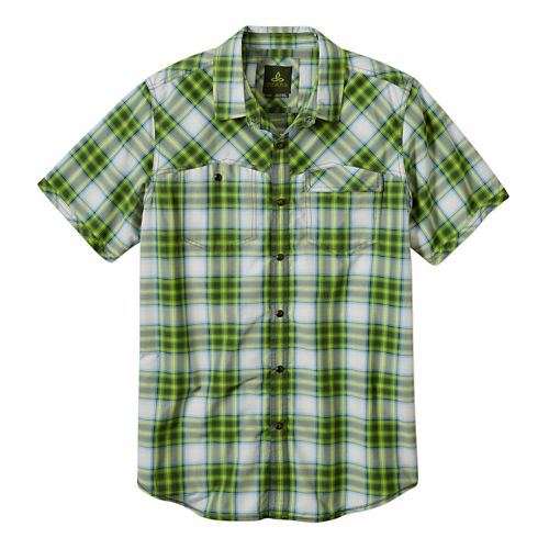 Mens Prana Benson Slim Short Sleeve Non-Technical Tops - Seaweed L