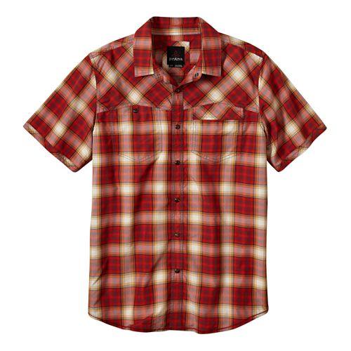 Mens Prana Benson Slim Short Sleeve Non-Technical Tops - Crimson XL