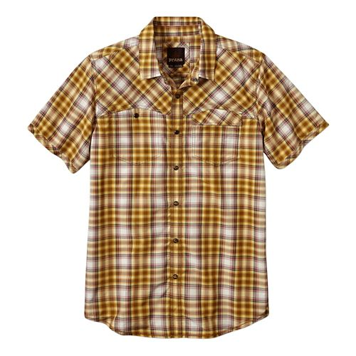 Mens Prana Benson Slim Short Sleeve Non-Technical Tops - Yellow S