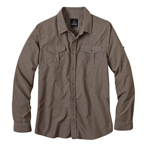 Mens prAna Ascension Long Sleeve Non-Technical Tops - Mud M