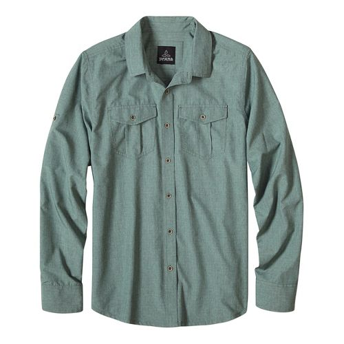 Mens prAna Ascension Long Sleeve Non-Technical Tops - Green L