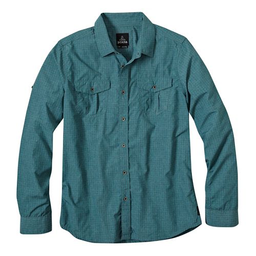 Mens Prana Ascension Long Sleeve No Zip Non-Technical Tops - True Teal XL