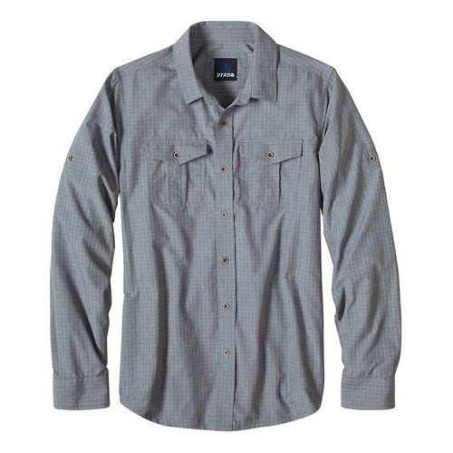 Mens prAna Ascension Long Sleeve Non-Technical Tops - Blue XL