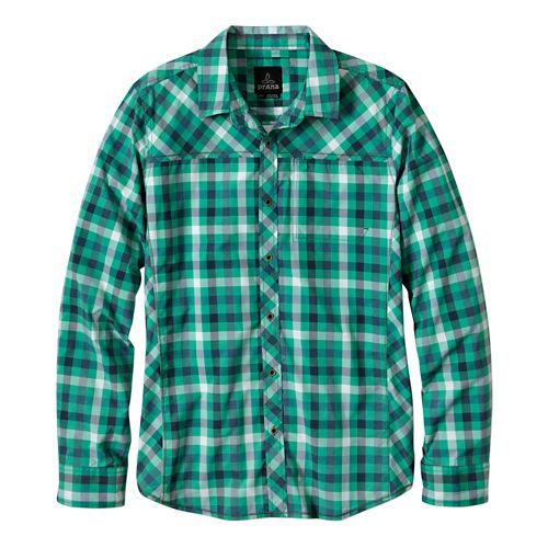 Mens Prana Zeven Long Sleeve No Zip Non-Technical Tops - Cool Green L
