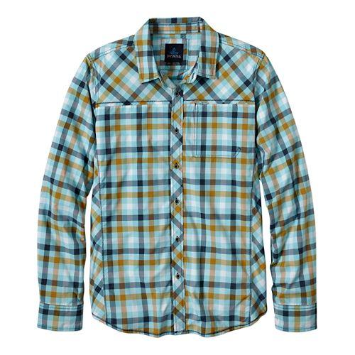 Mens Prana Zeven Long Sleeve No Zip Non-Technical Tops - Dusty Blue S