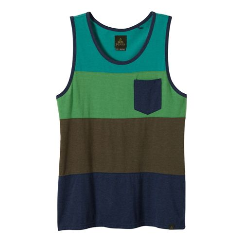 Mens Prana Lineage Tank Technical Tops - Nautical Green M