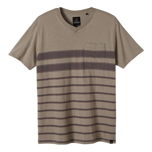 Mens Prana Breyson V Neck Short Sleeve Non-Technical Tops - Greystone S
