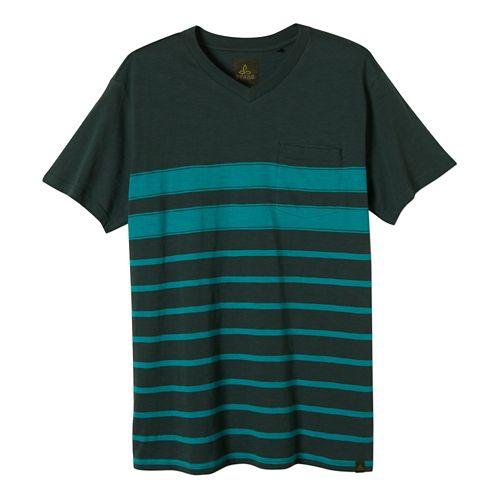 Mens Prana Breyson V Neck Short Sleeve Non-Technical Tops - Evergreen S