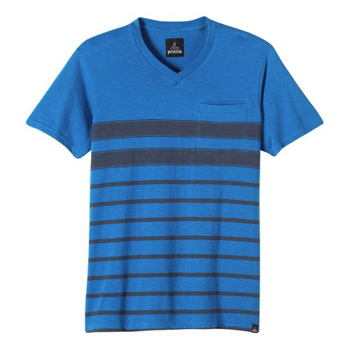 Mens prAna Breyson V Neck Short Sleeve Non-Technical Tops - Classic Blue L