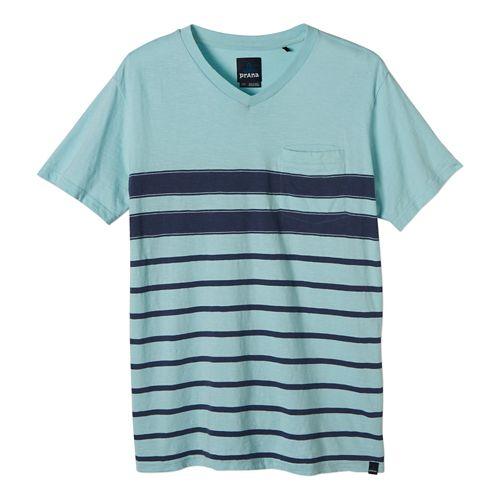 Mens Prana Breyson V Neck Short Sleeve Non-Technical Tops - Dusty Blue XL