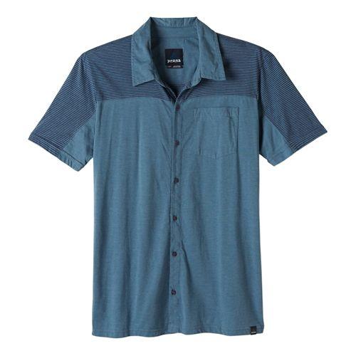 Mens Prana Knoven Short Sleeve Non-Technical Tops - Blue Ridge L