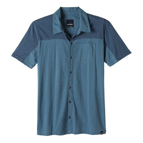 Mens Prana Knoven Short Sleeve Non-Technical Tops - Blue Ridge M