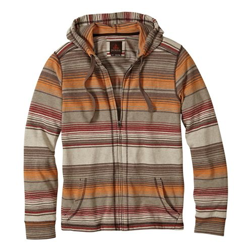 Mens Prana Trio Full Zip Warm Up Hooded Jackets - Mud M