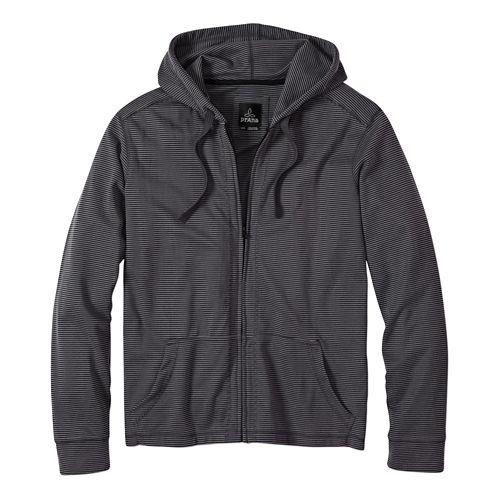Mens Prana Trio Full Zip Warm Up Hooded Jackets - Gravel L