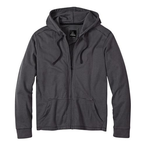 Mens Prana Trio Full Zip Warm Up Hooded Jackets - Gravel S