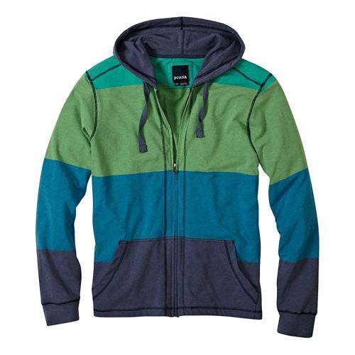 Mens Prana Trio Full Zip Warm Up Hooded Jackets - Nautical L