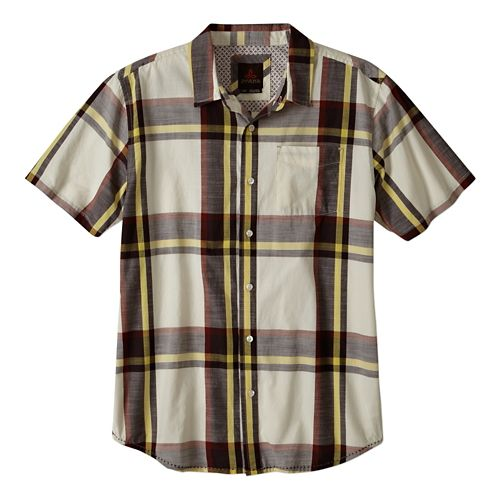 Mens Prana Ecto Short Sleeve Non-Technical Tops - Rich Cocoa S