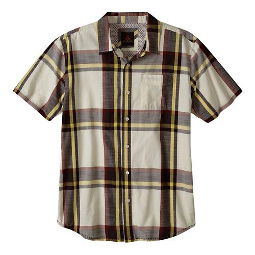 Mens Prana Ecto Short Sleeve Non-Technical Tops - Rich Cocoa XL