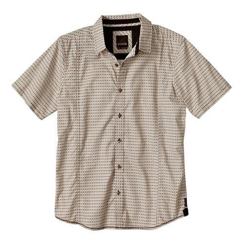 Mens Prana Lukas Slim Short Sleeve Non-Technical Tops - Brown XXL