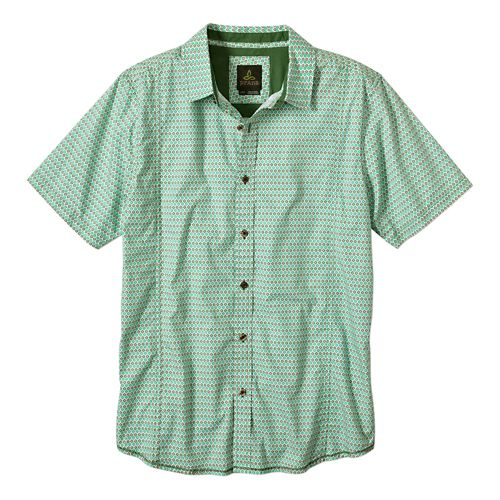 Mens Prana Lukas Slim Short Sleeve Non-Technical Tops - Cool Green M
