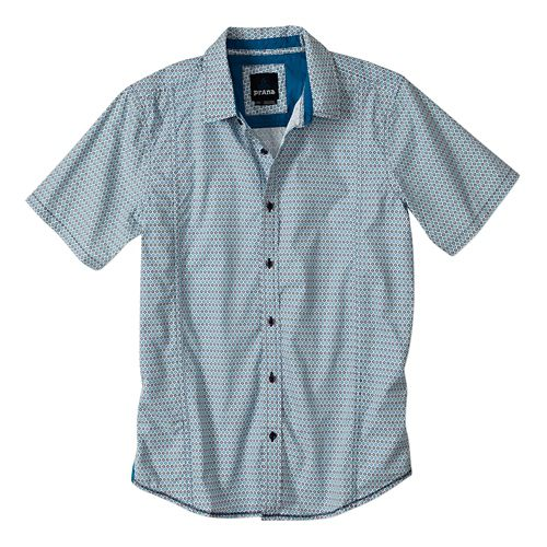 Mens Prana Lukas Slim Short Sleeve Non-Technical Tops - Blue Ridge XXL