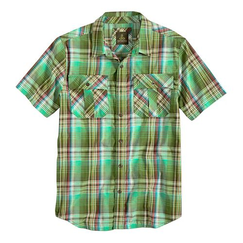 Mens prAna Ostend Short Sleeve Non-Technical Tops - Green Smoke M