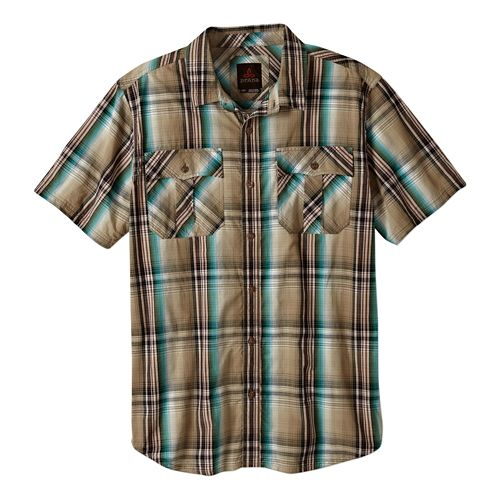 Mens Prana Ostend Short Sleeve Non-Technical Tops - Dark Khaki S