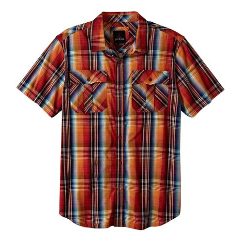 Mens Prana Ostend Short Sleeve Non-Technical Tops - Fireball XL
