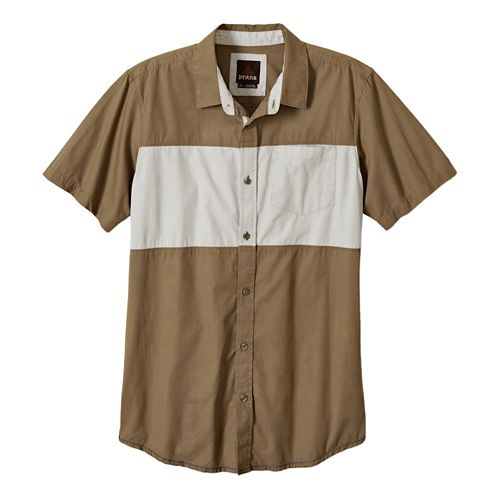 Mens Prana Tiereck Slim Short Sleeve Non-Technical Tops - Mud XL