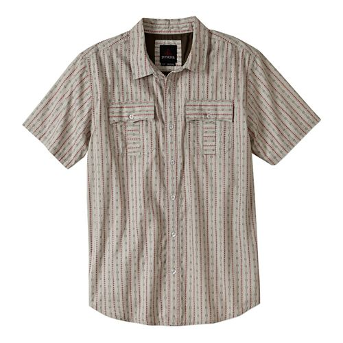 Mens Prana Torres Short Sleeve Non-Technical Tops - Light Grey L