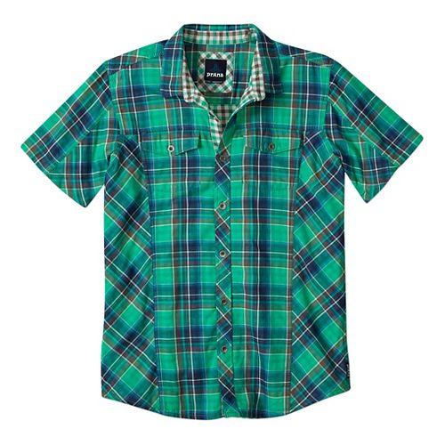 Mens Prana Zoltan Slim Short Sleeve Non-Technical Tops - Cool Green L