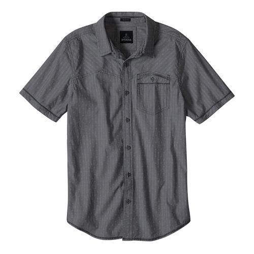 Mens prAna Patras Slim Short Sleeve Non-Technical Tops - Charcoal XL
