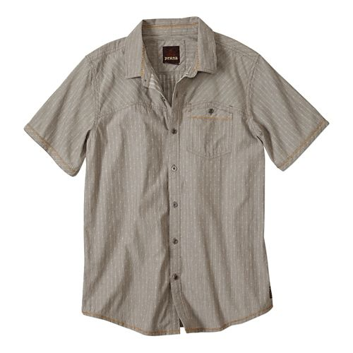 Mens Prana Patras Slim Short Sleeve Non-Technical Tops - Mud XL