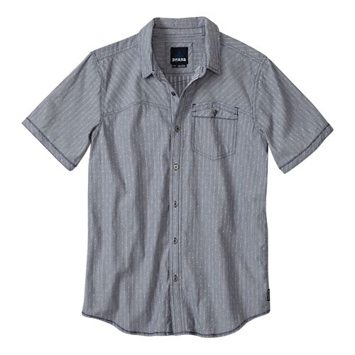 Mens Prana Patras Slim Short Sleeve Non-Technical Tops - Blue Ridge L