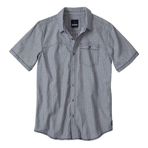 Mens Prana Patras Slim Short Sleeve Non-Technical Tops - Blue Ridge XL