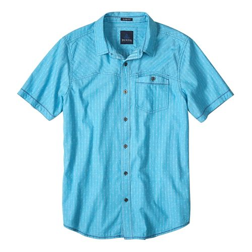 Mens prAna Patras Slim Short Sleeve Non-Technical Tops - Cove L