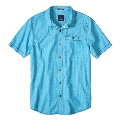 Mens prAna Patras Slim Short Sleeve Non-Technical Tops - Cove M