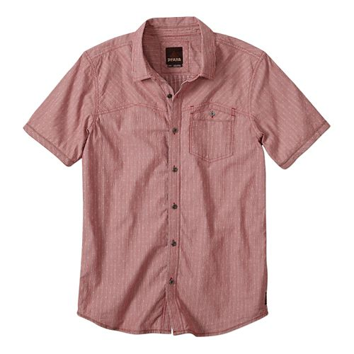 Mens Prana Patras Slim Short Sleeve Non-Technical Tops - Crimson M