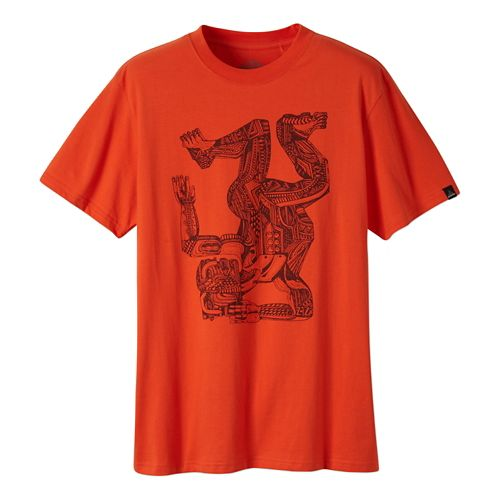 Mens Prana Ziegler Short Sleeve Non-Technical Tops - Electric Orange L