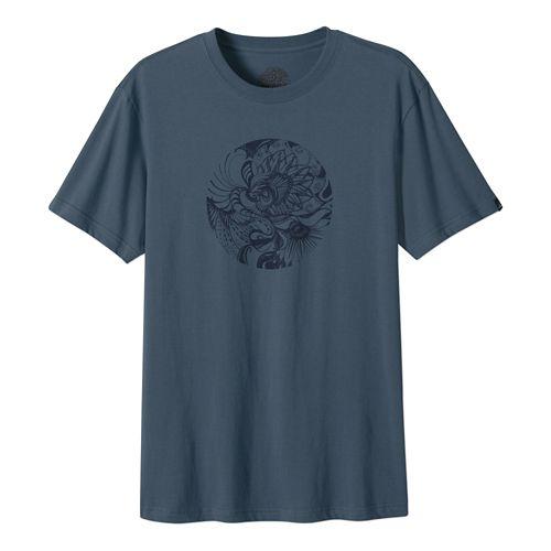 Mens Prana Mindful Short Sleeve Non-Technical Tops - Blue Grey L