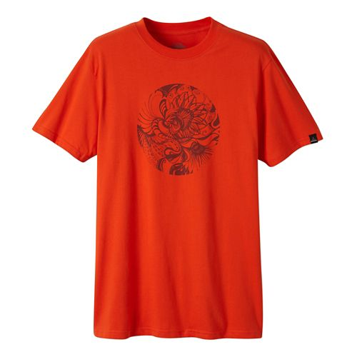 Mens Prana Mindful Short Sleeve Non-Technical Tops - Electric Orange M
