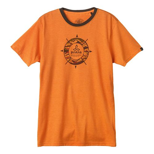 Mens Prana Compass Short Sleeve Non-Technical Tops - Tangerine S