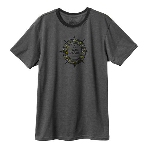 Mens Prana Compass Short Sleeve Non-Technical Tops - Charcoal S