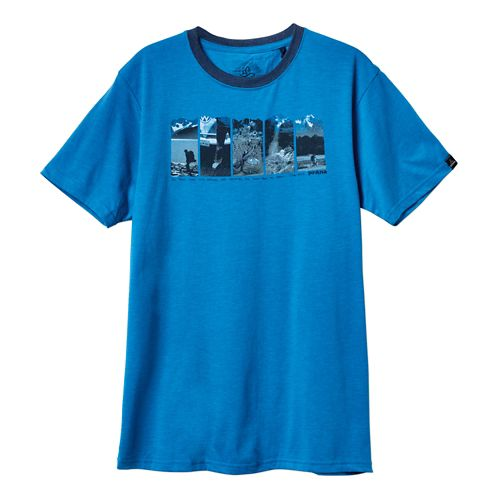 Mens Prana Alaska Short Sleeve Non-Technical Tops - Danube Blue S