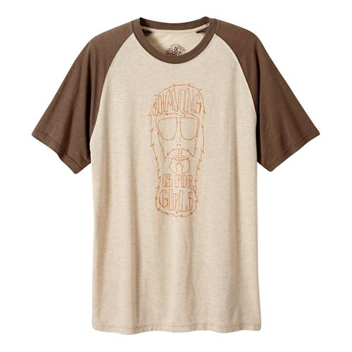 Mens Prana Beard Short Sleeve Non-Technical Tops - Stone XL