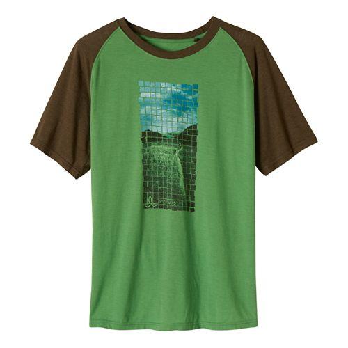 Mens Prana Grid Short Sleeve Non-Technical Tops - Seaweed L