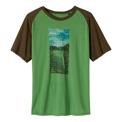 Mens Prana Grid Short Sleeve Non-Technical Tops - Seaweed M