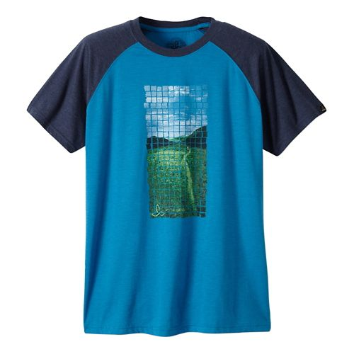 Mens Prana Grid Short Sleeve Non-Technical Tops - Danube Blue S