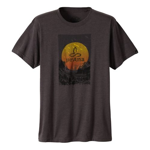 Mens Prana Daybreak Short Sleeve Non-Technical Tops - Charcoal XL