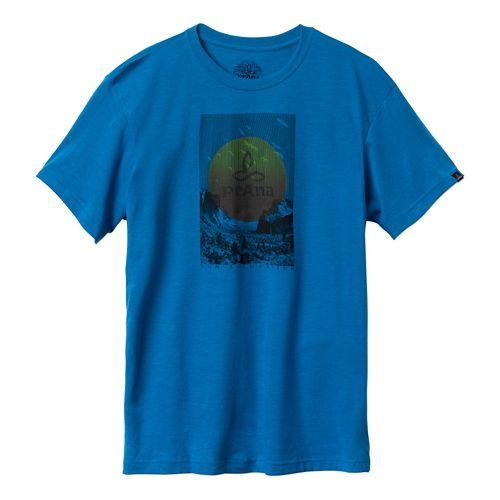 Mens Prana Daybreak Short Sleeve Non-Technical Tops - Danube Blue L